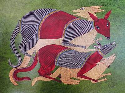 Gond Tribal Art Painting - Bs 55 by Bhajju Shyam