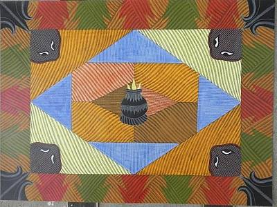 Gond Tribal Art Painting - Bs 64 by Bhajju Shyam