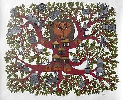 Gond Tribal Art Painting - Bs 77 by Bhajju Shyam