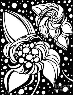 Bubble Flowers Print by Sarah Loft