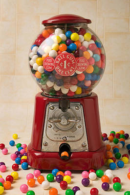 Coins Photograph - Bubble Gum Machine by Garry Gay
