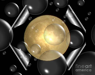 Abstract Photograph - Bubbles Over A Full Moon by Rose Santuci-Sofranko