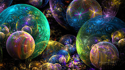 Abstract Digital Digital Art - Bubbles Upon Bubbles by Peggi Wolfe