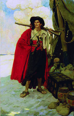 Howard Pyle Painting - Buccaneer Of The Caribbean by Howard Pyle