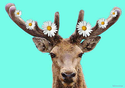Colorado Christmas Painting - Buck Deer Art - Dont Shoot by Sharon Cummings