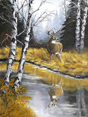 Creek Painting - Buck Reflection by Johanna Lerwick Wildlife Nature Artist