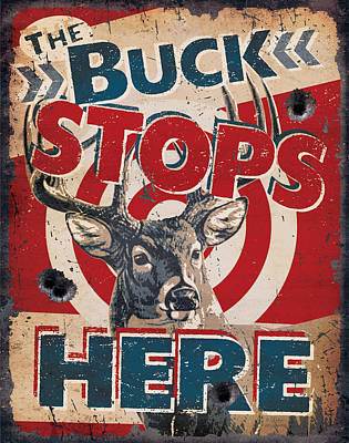Whitetail Painting - Buck Stops Here Sign by JQ Licensing