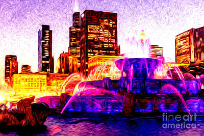 Building Exterior Digital Art - Buckingham Fountain At Night Digital Painting by Paul Velgos