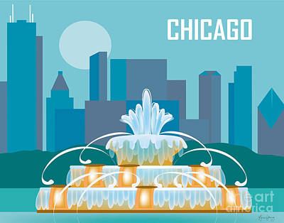 Buckingham Fountain Chicago Print by Karen Young