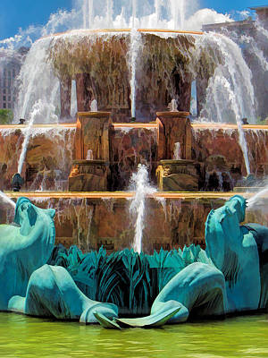 Grant Park Painting - Buckingham Fountain Closeup by Christopher Arndt