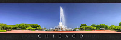 Chicago Painting - Buckingham Fountain Panorama Poster by Christopher Arndt