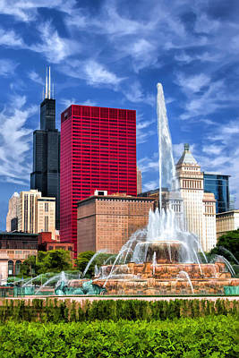 Sears Tower Painting - Buckingham Fountain Sears Tower by Christopher Arndt
