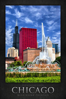 Sears Tower Painting - Buckingham Fountain Sears Tower Poster by Christopher Arndt