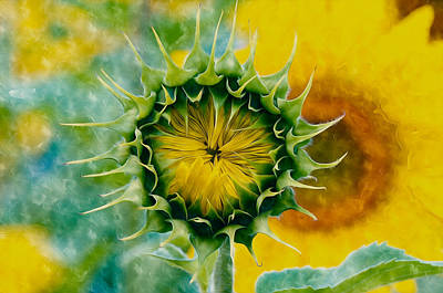 Florid Painting - Bud Of Sunflower by Lanjee Chee