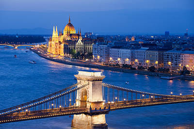 Budapest Attractions Photograph - Budapest Cityscape At Night by Artur Bogacki