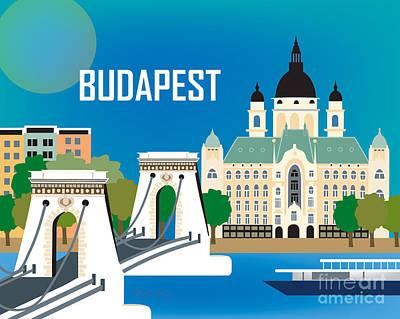 Framed Art Digital Art - Budapest Hungary Skyline by Karen Young