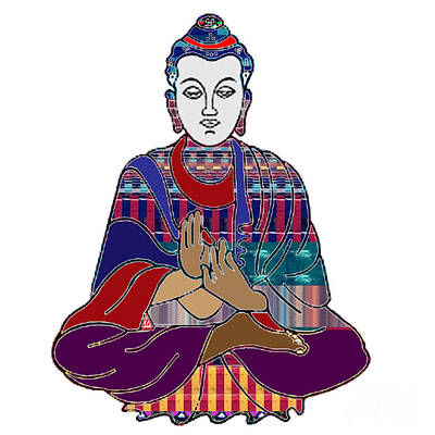 Rights Manages Images Painting - Buddha In Meditation Buddhism Master Teacher Spiritual Guru By Navinjoshi At Fineartamerica.com by Navin Joshi