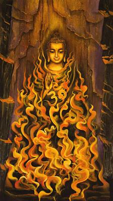 Buddha. Fire Of Meditation Print by Vrindavan Das
