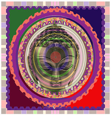 Champion Mixed Media - Buddha In Meditation Aura Art by Navin Joshi