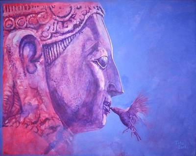Statue Portrait Painting - Buddha Kiss by Richard Tito