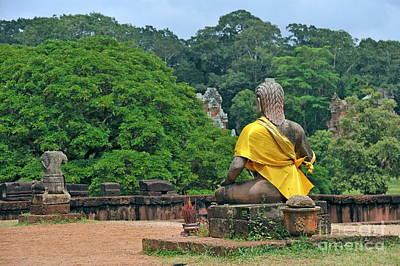 Photograph - Buddha Statue Wearing A Yellow Sash by Sami Sarkis