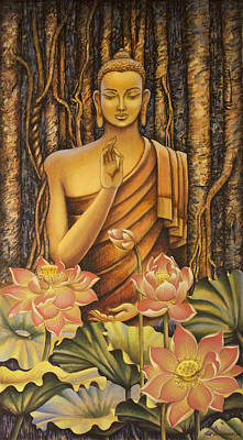 Tibet Painting - Buddha by Vrindavan Das