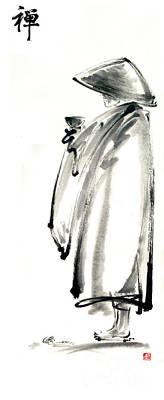 Buddhist Monk With A Bowl Zen Calligraphy Original Ink Painting Artwork Original by Mariusz Szmerdt