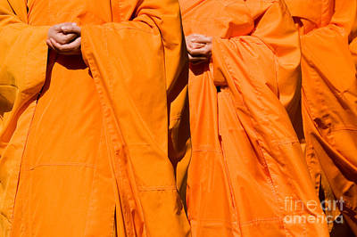 Buddhist Monks 02 Print by Rick Piper Photography