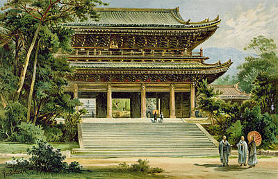 Buddhist Temple At Kyoto, Japan Print by Ernst Heyn