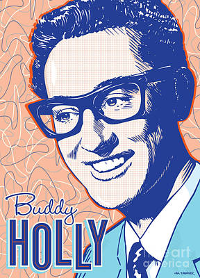 1950s Singer Digital Art - Buddy Holly Pop Art by Jim Zahniser