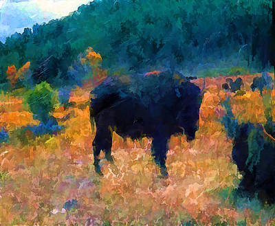 Bison Digital Art - Buffalo Abstract Digital Painting by Cathy Anderson
