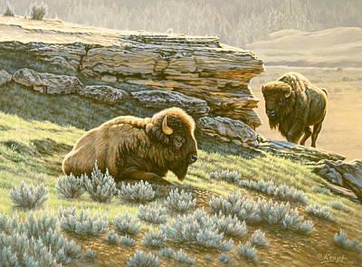 Yellowstone Painting - 'buffalo At Soda Butte' by Paul Krapf