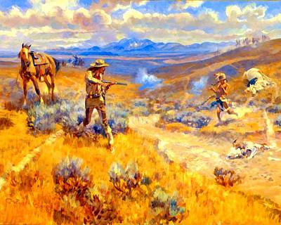 Charles Digital Art - Buffalo Bills Duel With Yellowhand by Charles Russell