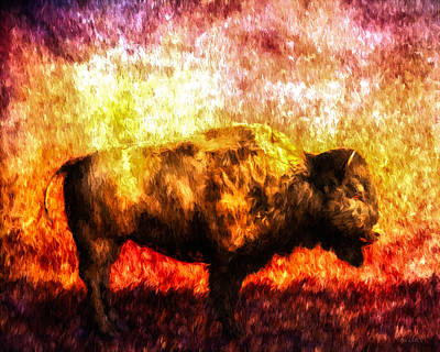 Abstract Wildlife Painting - Buffalo by Bob Orsillo
