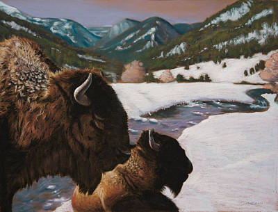 Mountains Painting - Buffalo by Christopher Reid