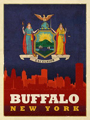 Buffalo Mixed Media - Buffalo City Skyline Flag Of New York State Art Poster Series 003 by Design Turnpike