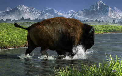 Bison Digital Art - Buffalo Crossing A River by Daniel Eskridge