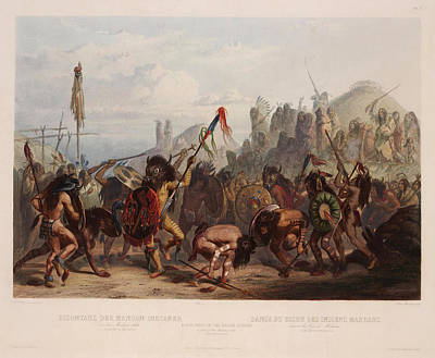 Indian Dance Drawing - Buffalo Dance Of The Mandan Indians by Karl Bodmer