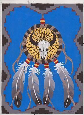 Rawhide Painting - Buffalo Dreams by Billie Bowles