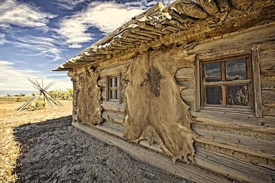 Log Cabin Art Photograph - Buffalo Hide On Trading Post Colorado by James Steele