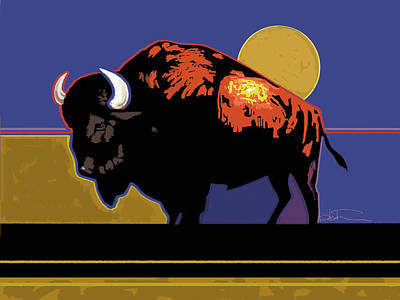 Bison Painting - Buffalo Moon by R Mark Heath