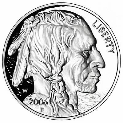 Buffalo Nickel Print by Fred Larucci