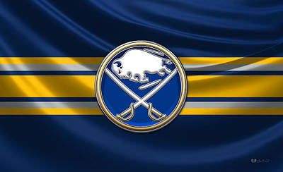 Buffalo Sabres - 3 D Badge Over Silk Flag Original by Serge Averbukh