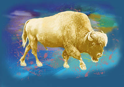 Buffalo - Wild Animal Stylised Pop Art Drawing Potrait Poster Print by Kim Wang