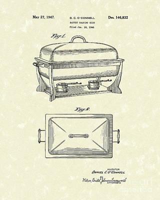 Buffet Drawing - Buffet Dish 1947 Patent Art by Prior Art Design