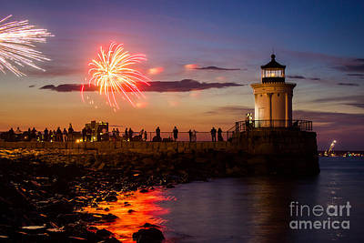 4th July Photograph - Bug Light Fireworks by Benjamin Williamson