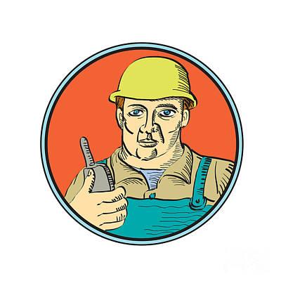 Builder Carpenter Holding Radio Phone Circle Retro Print by Aloysius Patrimonio
