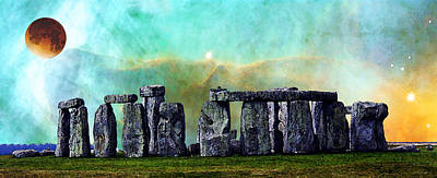 Celtic Art Painting - Building A Mystery 2 - Stonehenge Art By Sharon Cummings by Sharon Cummings