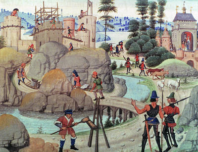 Engineering Painting - Building Of A Castle by Granger