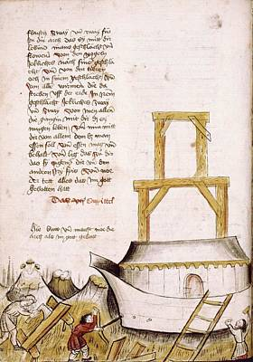 Building The Ark Print by Renaissance And Medieval Manuscripts Collection/new York Public Library